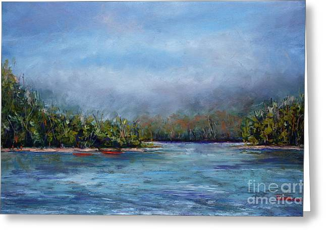 Delaware River Mist Greeting Card by Joyce A Guariglia