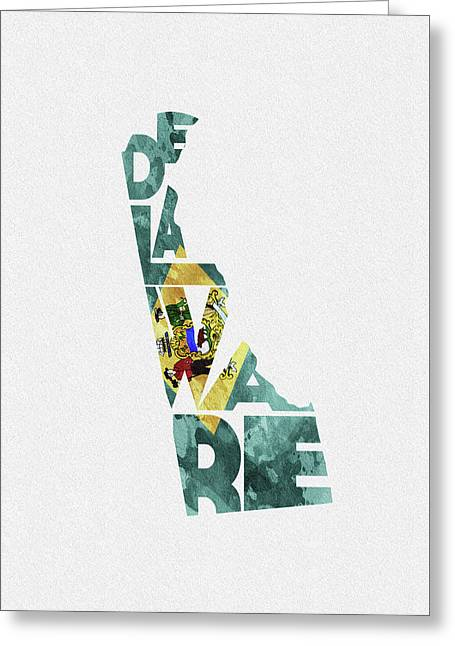 Delaware Typographic Map Flag Greeting Card
