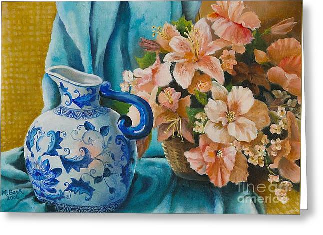 Greeting Card featuring the painting Delft Pitcher With Flowers by Marlene Book