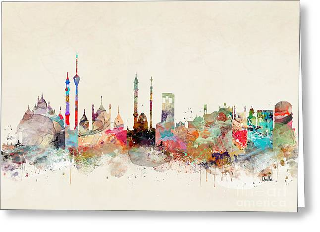 Greeting Card featuring the painting Delhi City Skyline by Bri B