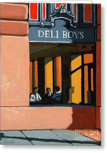 Deli Boys - Cafe Greeting Card by Linda Apple
