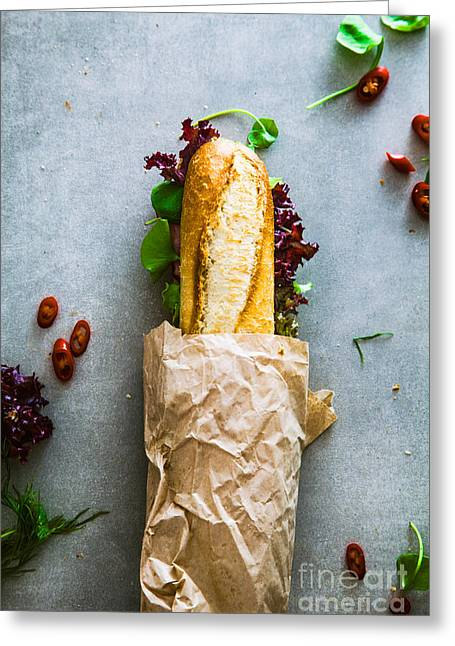 Deli Sandwich With Vegetables Greeting Card by Mythja Photography