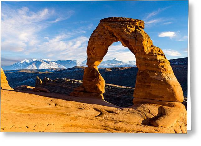 Delicate Arch And The La Sal Mountains Greeting Card by TL Mair