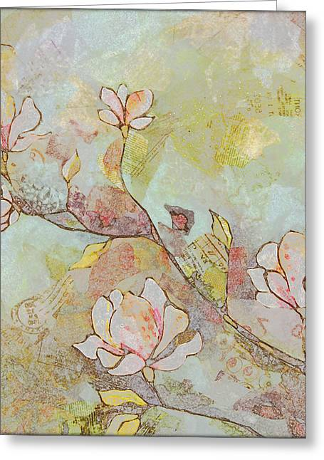 Delicate Magnolias Greeting Card by Shadia Derbyshire