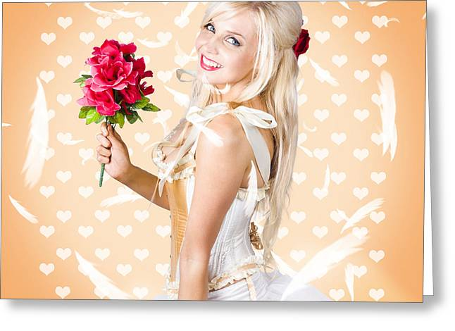 Delicate Young Woman Holding Flower Bunch Greeting Card by Jorgo Photography - Wall Art Gallery