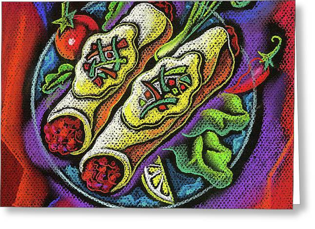 Delicious Anchilada Greeting Card by Leon Zernitsky