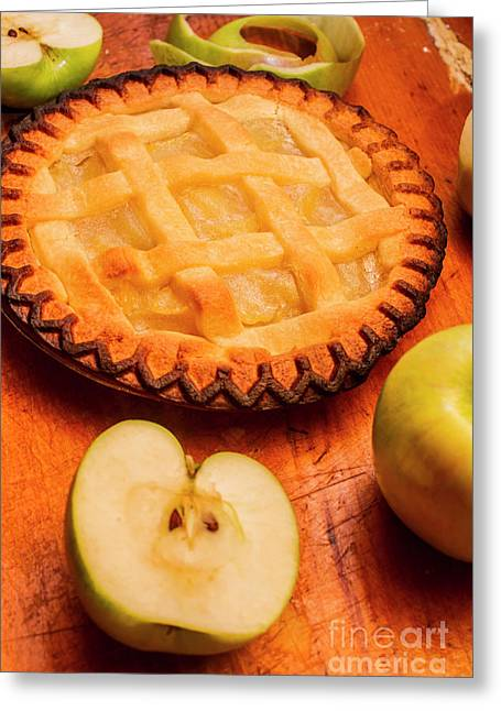 Delicious Apple Pie With Fresh Apples On Table Greeting Card
