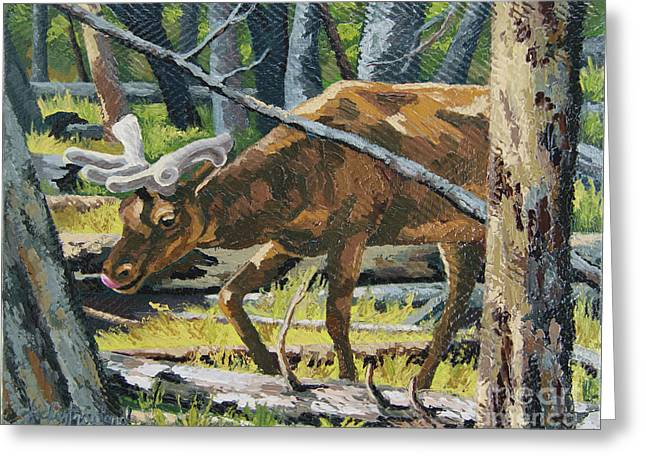 Greeting Card featuring the painting Delicious Greens, Yellowstone by Erin Fickert-Rowland