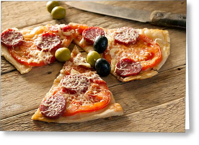Delicious Italian Homemade Pizza Greeting Card by Vadim Goodwill