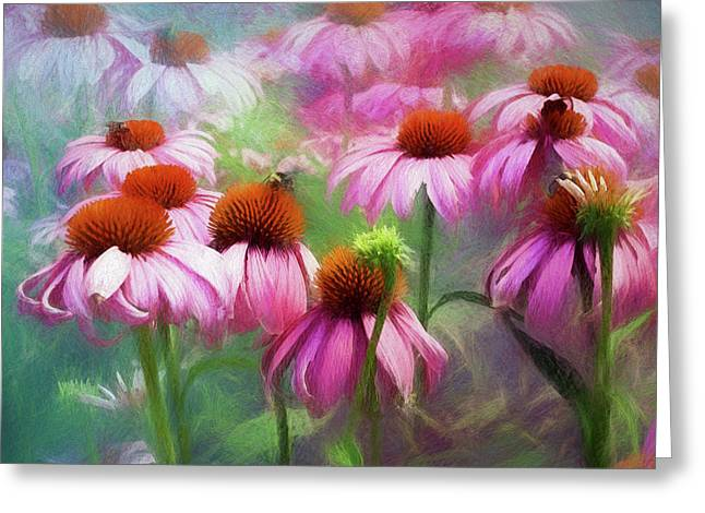 Greeting Card featuring the digital art Delightful Coneflowers by Diane Schuster