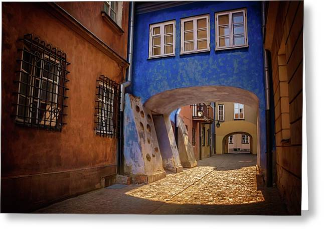 Delightful Dawna Street Warsaw  Greeting Card by Carol Japp