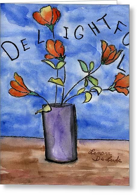 Delightful Flowers In Purple Vase Greeting Card by Lenora  De Lude