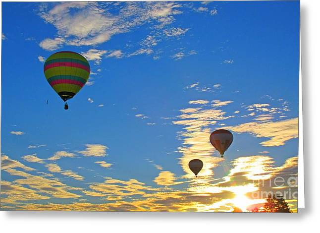 Delightful Photograph Of Three Hot Air Balloons In A Gold And Blue Sky Greeting Card