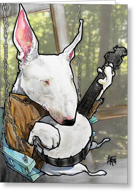 Deliverance Bull Terrier Caricature Art Print Greeting Card