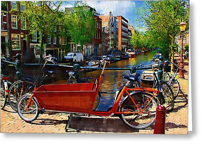 Delivery Bike Greeting Card by Tom Reynen