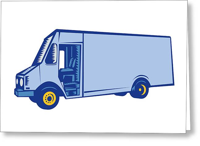 Delivery Van Side Woodcut Greeting Card by Aloysius Patrimonio
