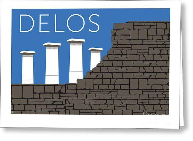 Greeting Card featuring the digital art Delos - Blue by Sam Brennan