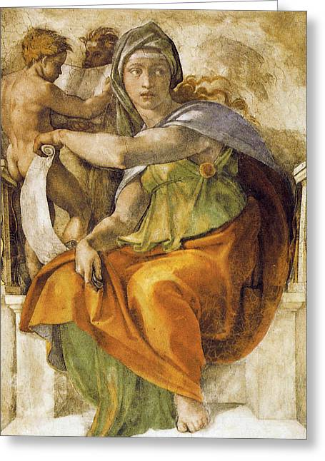 Delphic Sibyll Greeting Card by Michelangelo Buonarroti