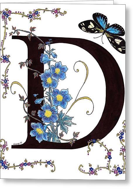 Delphinium And Doris Butterfly Greeting Card by Stanza Widen