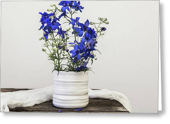 Greeting Card featuring the photograph Delphinium Blue by Kim Hojnacki