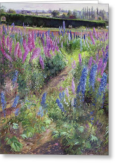 Delphiniums And Hoers Greeting Card by Timothy Easton