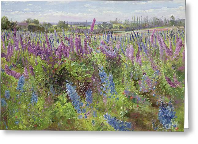 Delphiniums And Poppies Greeting Card by Timothy Easton