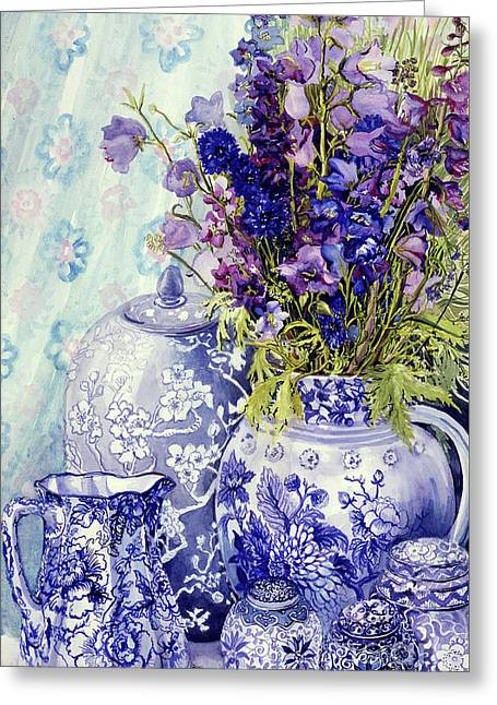 Delphiniums With Antique Blue Pots Greeting Card by Joan Thewsey