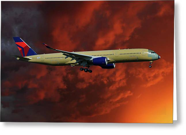 Delta Airlines Airbus A350-900 Greeting Card