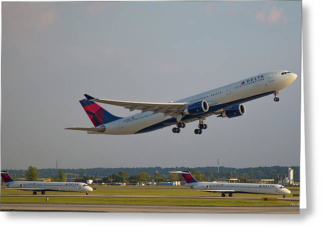 Delta Airlines Jet N827nw Airbus A330-300 Atlanta Airplane Art Greeting Card