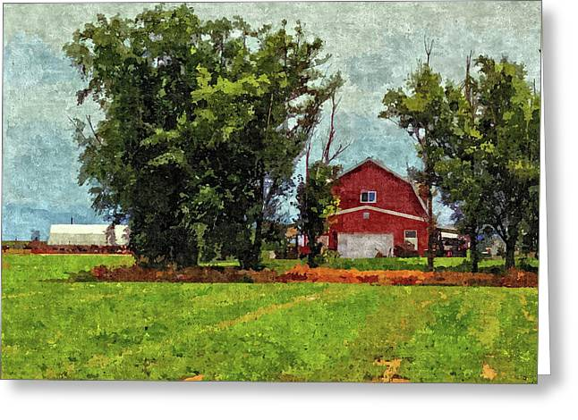 Greeting Card featuring the digital art Delta Barn by David King