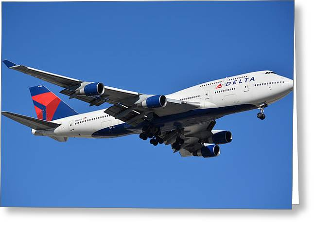 Delta Boeing 747-451 N662us Phoenix Sky Harbor January 12 2015 Greeting Card by Brian Lockett