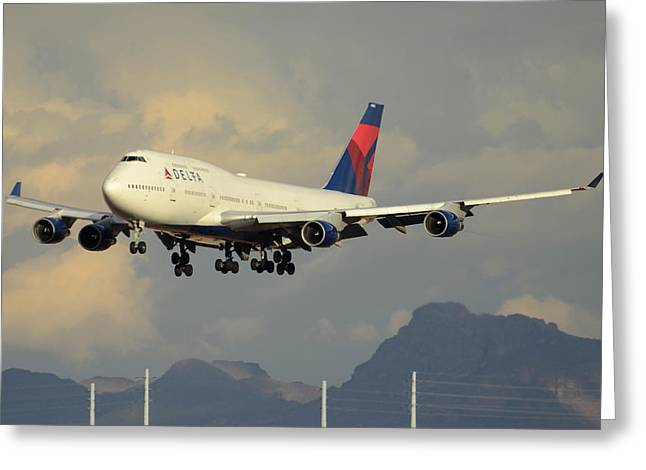 Delta Boeing 747-451 N668us Phoenix Sky Harbor January 8 2015 Greeting Card by Brian Lockett
