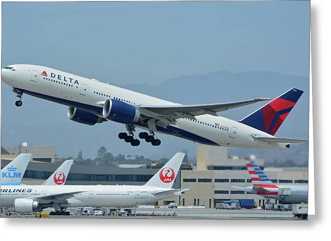 Greeting Card featuring the photograph Delta Boeing 777-232lr N703dn Los Angeles International Airport May 3 2016 by Brian Lockett