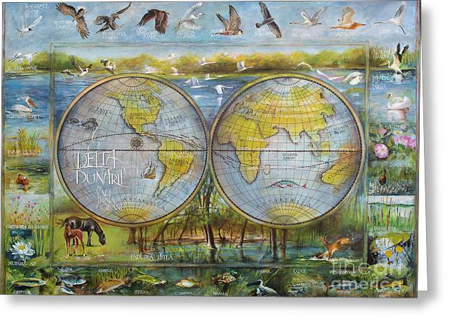 Danube Delta  Map.delta Map Painted On Leather. Original Map.one Of A Kind Map. Greeting Card
