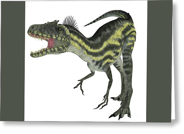 Deltadromeus On White Greeting Card by Corey Ford