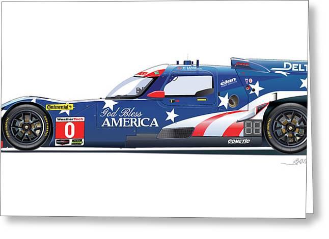 Deltawing Le Mans Racer Illustration Greeting Card by Alain Jamar