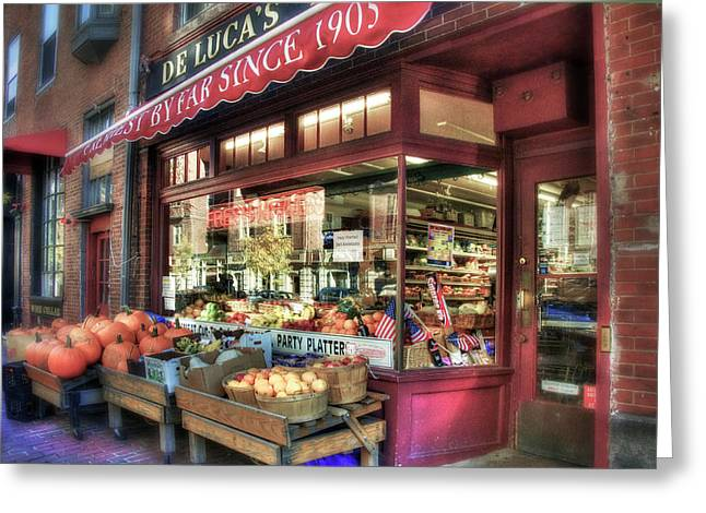Greeting Card featuring the photograph Deluca's Market - Boston by Joann Vitali