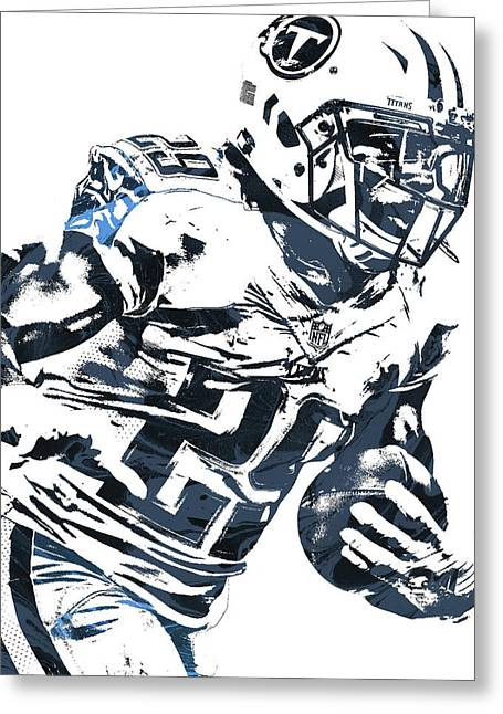 Greeting Card featuring the mixed media Demarco Murray Tennessee Titans Pixel Art 2 by Joe Hamilton