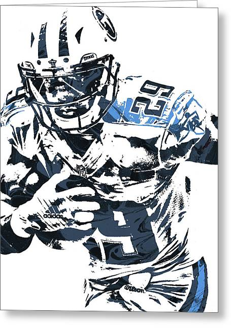 Greeting Card featuring the mixed media Demarco Murray Tennessee Titans Pixel Art by Joe Hamilton