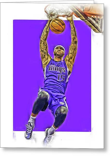 Demarcus Cousins Sacramento Kings Oil Art Greeting Card by Joe Hamilton