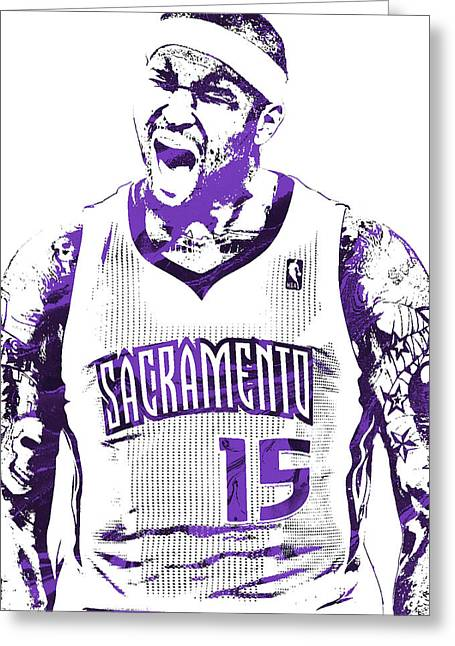 Demarcus Cousins Sacramento Kings Pixel Art 2 Greeting Card by Joe Hamilton
