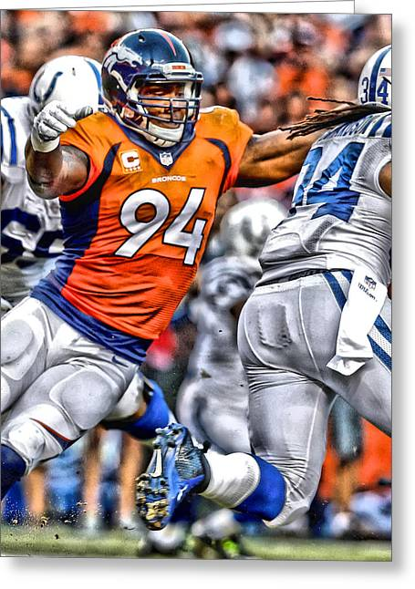 Demarcus Ware Broncos Art Greeting Card