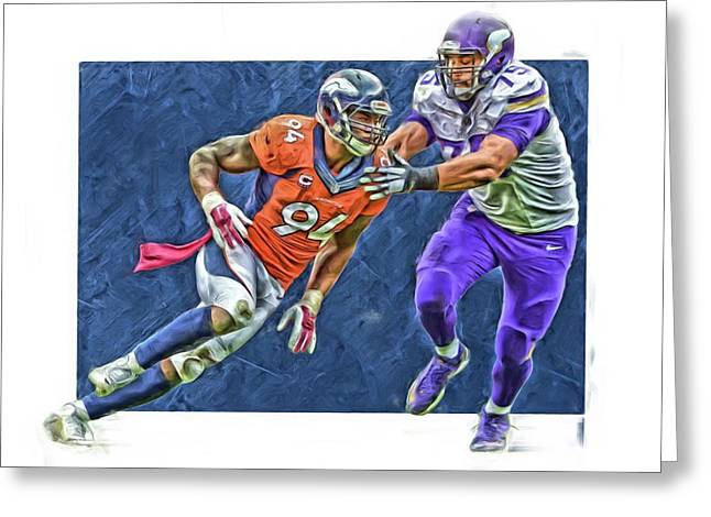 Demarcus Ware Denver Broncos Oil Art3 Greeting Card