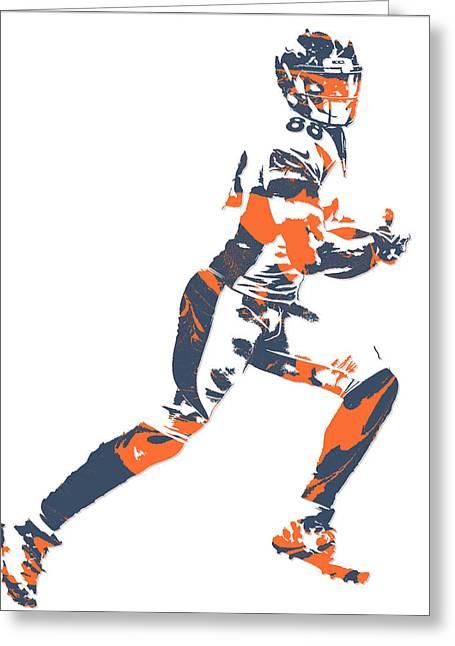 Demaryius Thomas Denver Broncos Pixel Art 10 Greeting Card