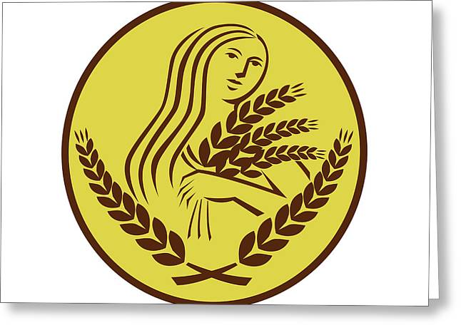 Demeter Harvest Wheat Grain Oval Retro Greeting Card