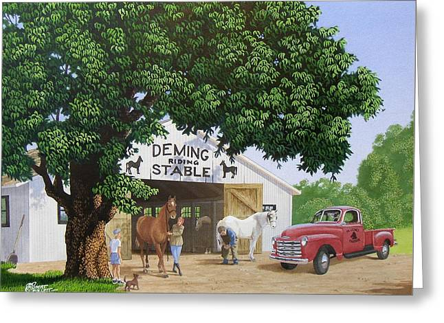 Deming Stables Greeting Card by C Robert Follett