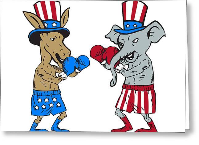 Democrat Donkey Boxer And Republican Elephant Mascot Cartoon Greeting Card by Aloysius Patrimonio