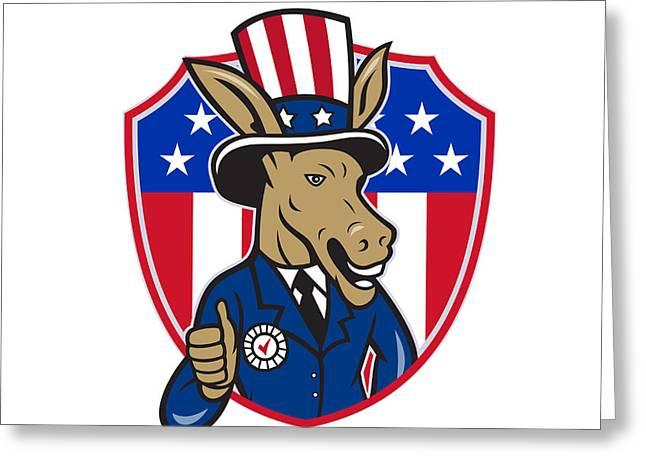 Democrat Donkey Mascot Thumbs Up Flag Cartoon Greeting Card by Aloysius Patrimonio
