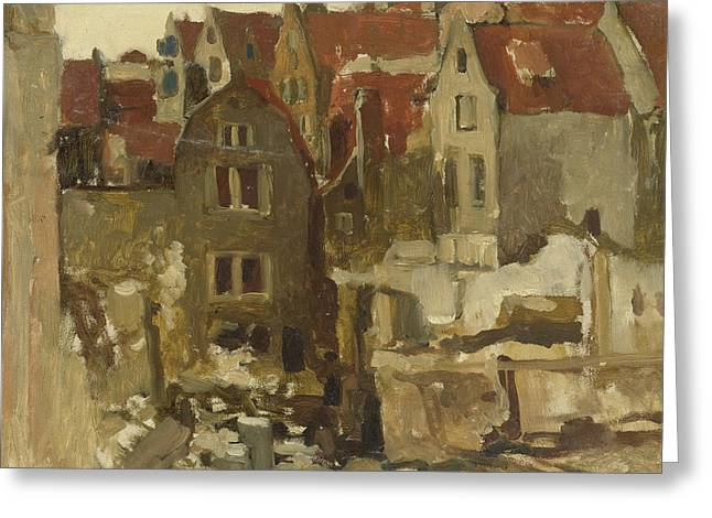 Demolition Of The Grand Bazar De La Bourse In Amsterdam At The Nieuwendijk Greeting Card by George Hendrik Breitner