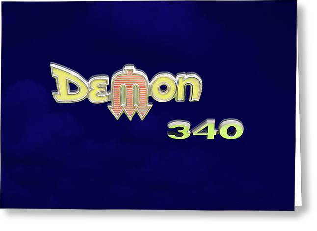 Demon 340 Emblem Greeting Card by Mike McGlothlen